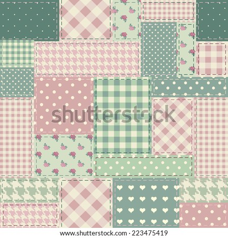 Seamless background pattern. The patchwork in style shabby chic. - stock vector