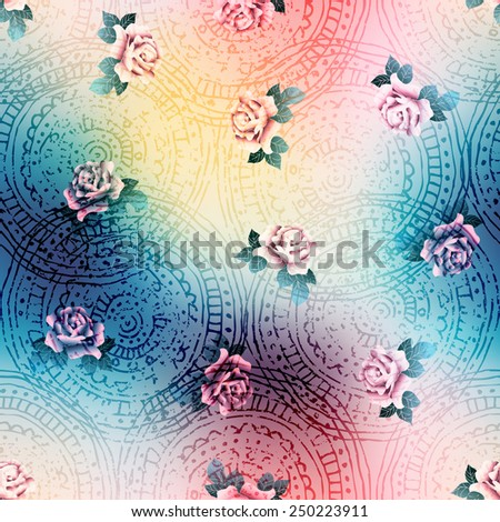Seamless background pattern. Vintage pattern of roses on blur background. - stock vector