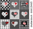 Seamless background pattern. Will tile endlessly. Black and white patchwork with hearts and red patches. - stock vector