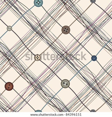 Seamless background pattern. Will tile endlessly. Diagonal pattern of cloth with threads and buttons - stock vector