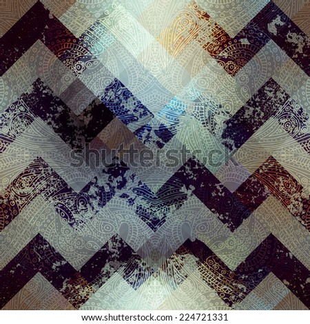Seamless background pattern. Will tile endlessly. Grunge chevron on pixel background. - stock vector