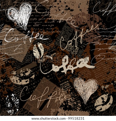 Seamless background pattern. Will tile endlessly. Grunge collage with original inscriptions coffee. - stock vector