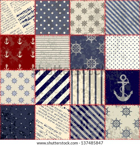 Seamless Background Pattern Will Tile Endlessly Stock Vector ... : nautical patchwork quilt - Adamdwight.com