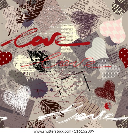 "Seamless background pattern. Will tile endlessly. Grunge texture with inscription ""love"" and hearts. - stock vector"