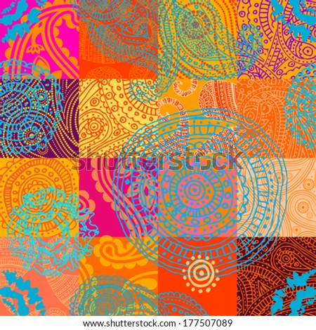 Seamless background pattern. Will tile endlessly. Orange patchwork with ornament - stock vector