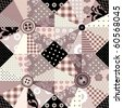 Seamless background pattern. Will tile endlessly. Patchwork with wedges and buttons. - stock vector