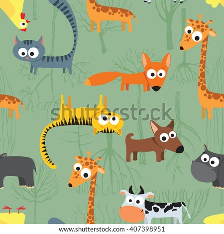 Seamless background pattern with farm animals in children's cartoon style, vector illustration best for textile design - stock vector