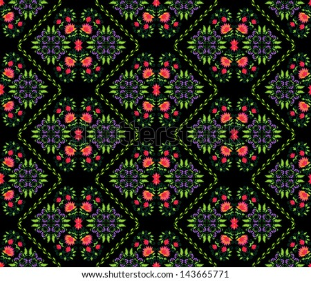 seamless background pattern with floral elements from Persian traditional art - stock vector