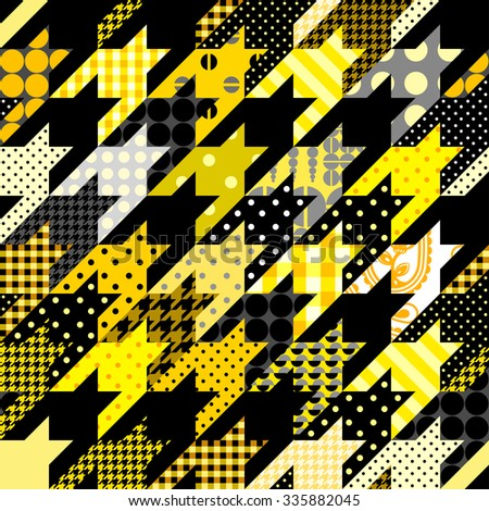Seamless background pattern. Yellow hounds-tooth geometric pattern in patchwork style. - stock vector