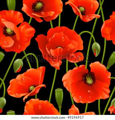 Seamless background: poppy - stock vector