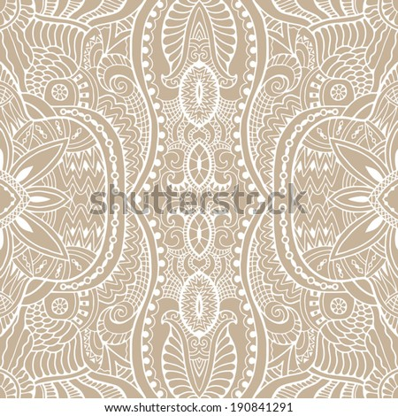 Seamless background, retro floral and geometric ornament, vector lace pattern, ethnic abstract decoration, hand drawn artwork  - stock vector