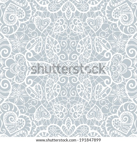 Seamless background, retro floral and geometric ornament with hearts, romantic lace pattern, ethnic abstract decoration, hand drawn artwork - stock vector