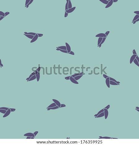 seamless background: sea ??turtle. Vector Illustration Design Pattern - stock vector