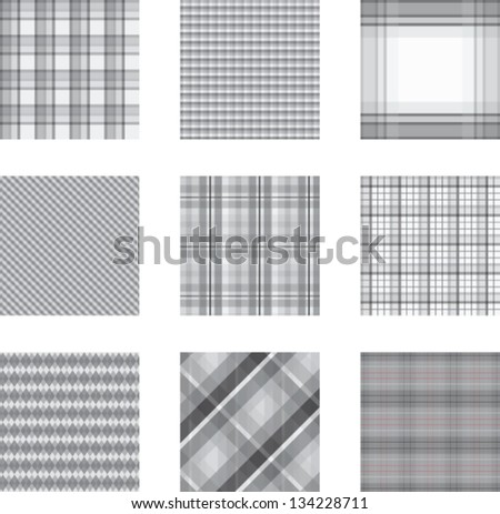 Seamless background set of gray plaid pattern, vector illustration - stock vector