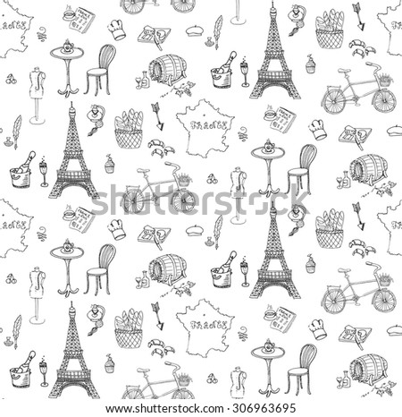 Seamless background, set of hand drawn French icons, Paris sketch illustration, doodle elements, Isolated national elements made in vector. Travel to France icons, Paris symbols collection - stock vector