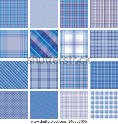 Seamless background set of plaid pattern, vector illustration, blue and purple - stock vector