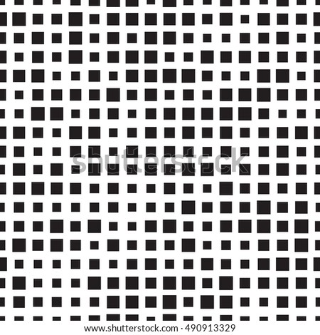 Seamless background texture. Halftone squares pattern. Black and white fabric print.