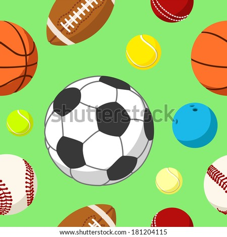 Seamless background tile with sport balls.