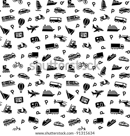 Seamless background, transport icons, wallpaper, wrapping paper - stock vector