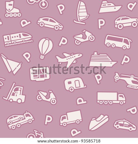 Seamless background, transport icons, wrapping paper - stock vector