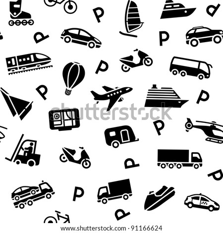 Seamless background transport pattern, vector design element - stock vector