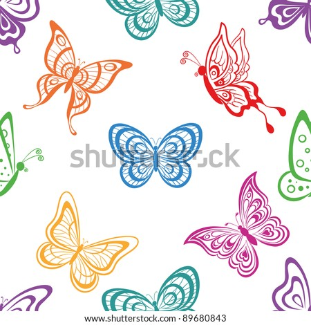 Seamless background, various symbolical butterflies, coloured contours on a white background. Vector - stock vector