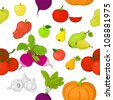 Seamless background, various vegetables and fruits on white. Vector - stock vector