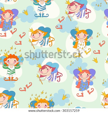 Seamless background vector illustration girls fairies. Fairy with a magic wand and the stars of heaven, fairy with fiery hair.