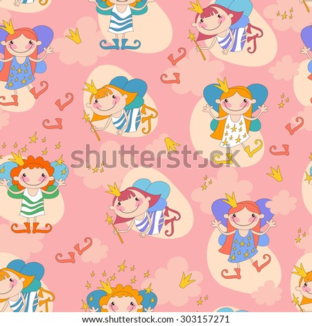 Seamless background vector illustration girls fairy on a pink background. Fairy with a magic wand and the stars of heaven, fairy with fiery hair.