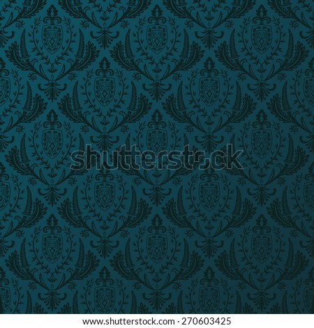 Seamless background vector retro wallpaper. Vintage baroque pattern ornament  - stock vector