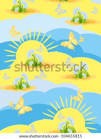 seamless background wallpaper with a picture of the nature of a meadow on a summer  day with flying butterflies in a cartoon style - stock vector