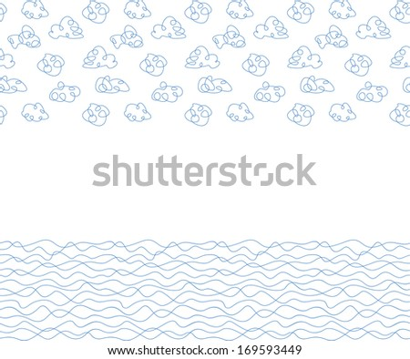 Seamless background, white clouds and waves. Vector illustration