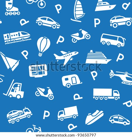 Seamless background, white transport icons - stock vector