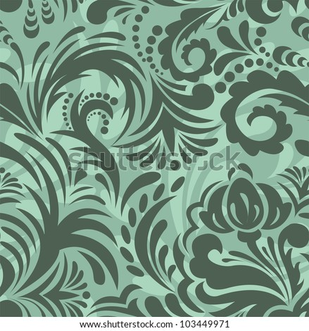 seamless background with a beautiful green floral ornaments