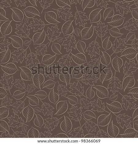 Seamless background with a chocolate-colored leaves - stock vector