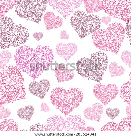 Seamless background with a pattern and hearts.