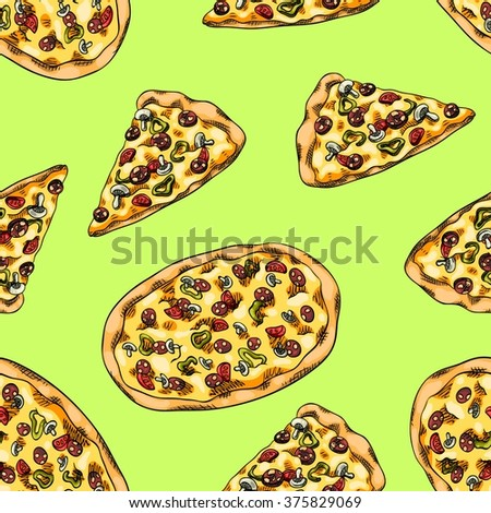 Seamless background with a pattern of pizza