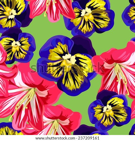 Seamless background with a pattern of  purple, yellow pansies and pink amaryllis - stock vector