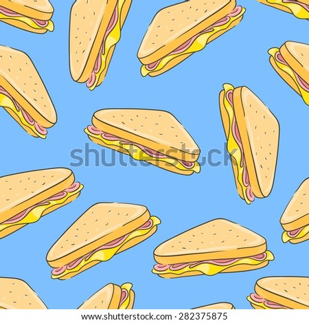 Seamless background with a pattern of sandwich with cheese and ham - stock vector
