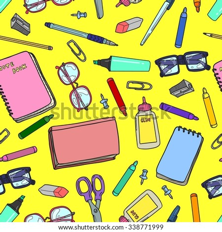 Seamless background with a pattern of stationery, books and glasses - stock vector