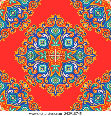Seamless background with abstract ethnic pattern. Vector illustration. - stock vector
