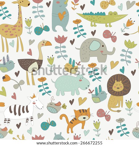 Seamless background with Africa animals. Cute tiger, alligator, lion, elephant, rhino, hippo, ostrich, birds, flowers, butterflies  and zebra in cartoon style. - stock vector