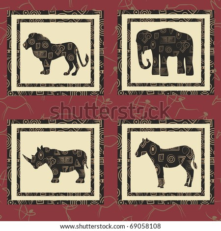 Seamless background with african animals. Lion, elephant, zebra, rhinoceros. - stock vector