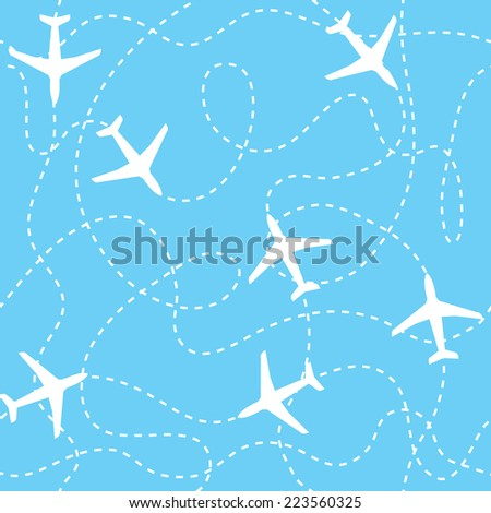 Seamless background with airplanes flying with dashed lines as tracks or routes on blue sky - stock vector