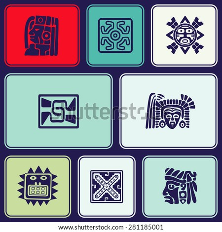 Seamless background with American Indians relics dingbats characters for your design - stock vector