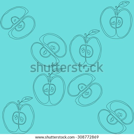 Seamless background with apples. Color pattern for invitation, web, posters