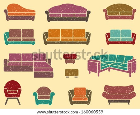 Seamless background with armchairs and sofas - stock vector