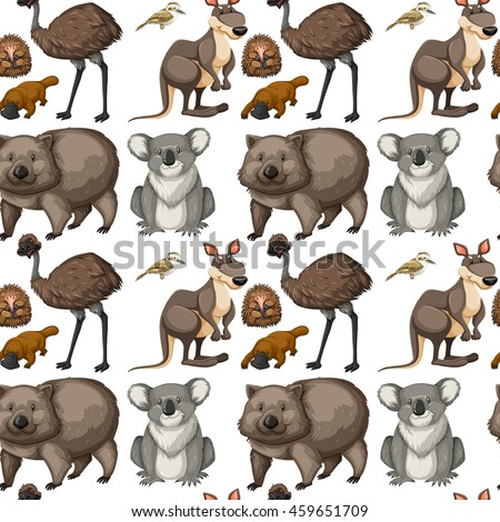 Seamless background with Australian animals illustration - stock vector