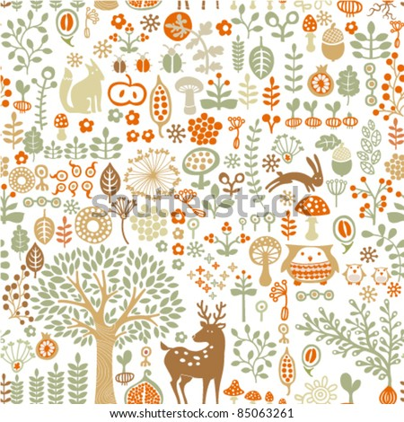 seamless background with autumn forest - stock vector
