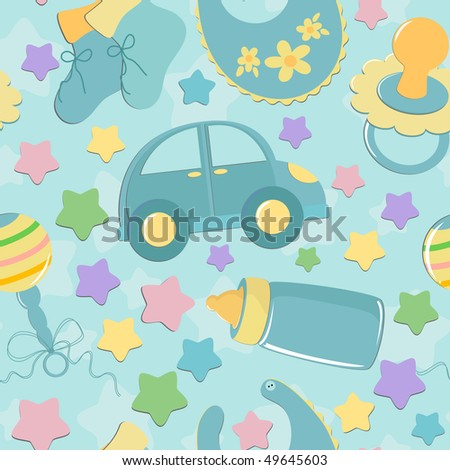 Seamless background with baby's toys in blue colors (EPS10)